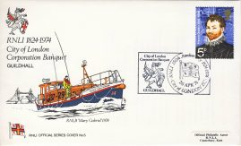 1974 RNLI Official Series Cover No.5 City of London Corporation Banquet Guildhall special handstamp and insert card. RNLB Mary Gabriel