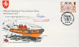 1981 RNLI Official Cover No.76 SIGNED by The Most Reverand Lord Coggan of Canterbury and Sissinghurst. Opening of New Lifeboat House WHITSTABLE Kent special handstamp. With insert card. NB Handling crease to front. Visible in photo.