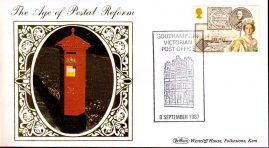 1987 Age of Postal Reform SOUTHAMPTON Victorian Collection Benham small silk cover handstamp 8 September 1987 - no insert - ref67