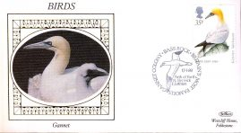 1989 GANNET Birds Benham small silk cover Bass Rock handstamp - no insert ref101