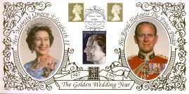 1997 LIMITED EDITION 22ct Real Gold Royal Golden Wedding Year Benham Silk Cover with Windsor Berks 21.2.97 special handstamp. Unsealed with insert card.