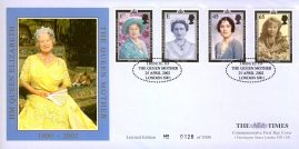 2002 LIMITED EDITION No.0126 of 2000 HM Queen ElizabethThe Queen Mother TIMES Commemorative First Day Cover with Tribute special handstamp. Sealed.