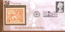 A 1999 strictly limited edition Benham silk cover with information insert card. First British Commemorative Stamps special handstamp Wembley Exhibition 1924. our ref aviation heritage album.