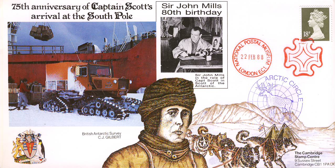 1988 National postal Museum cover - ERROR - certified box not completed. Captain Scott's 75th Anniversary arrival at South Pole. Sir John Mills 80th Birthday. No insert card - unsealed. Our ref Aviation heritage album.