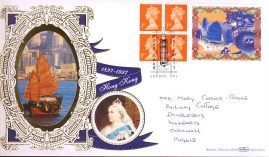 1997-02-12 Limited Edition Hong Kong Farewell Benham Silk First Day Cover with Portrait of Queen Victoria refalbB10