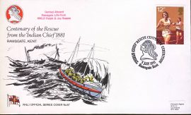 1981 RNLI Official Series Cover No.67 CARRIED Ralph Joy Swann Indian Chief Rescue handstamp refA411