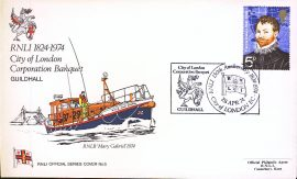 1974 RNLI Official Series Cover no.5 RNLB Mary Gabriel City of London Guildhall refA419