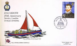 1974 RNLI official series cover no.2 150th Anniversary Service RNLB Lloyds St Pauls Cathedral refA421