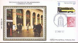 1987 R2 Benham Small Silk Cover Inauguration of the modernised Cambridge Station refA429