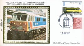 1987 R3 Benham Small Silk Cover - The Lauch of the Fully Electrified Service between Cambridge and Liverpool Street. refA430