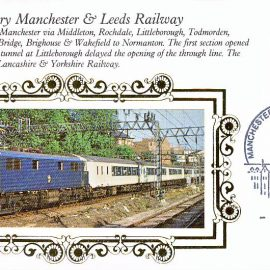 1989 R10 Benham Small Silk Cover 150th Anniversary Manchester & Leeds with Manchester Philatelic Counter handstamp refA436