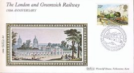 1986 R3 Benham Small Silk Cover 150th Anniversary of London Greenwich Railway with Southwark handstamp A439