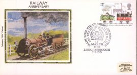 1980 Colorano Small Silk Cachet Railway Anniversary Cover with Loughborough special handstamp. No insert card. refA68