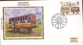 1980 Colorano Small Silk Railway Anniversary Cover Edinburgh FDI - no insert card. A367