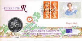 1996 LIMITED EDITION Her Majesty Queen Elizabeth II 70th Birthday Commemorative Crown Royal Mail Cover produced by Royal Mint 5 Pound Coin Llantrisant with London with ER 21.4.96 cance refA441