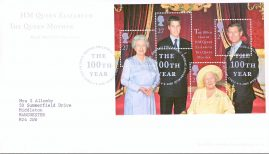 2000-08-04 Queen Mothers 100th Birthday minisheet First Day Cover Bureau fdi with insert A443
