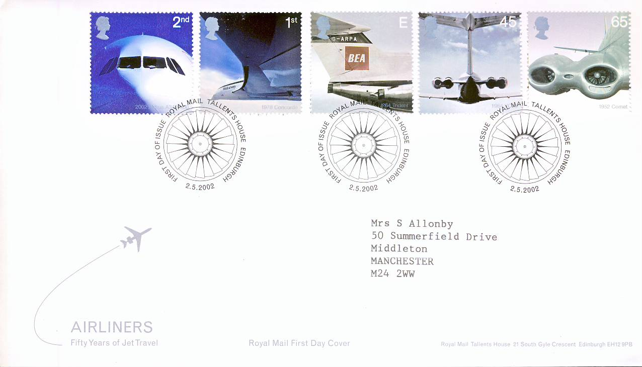 2002-05-02 Airliners First Day Cover Royal Mail Tallent House Edinburgh fdi with insert card refA445