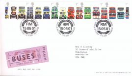 2001-05-15 Classcic British Buses Double Deckers Royal Mail First Day Cover Bureau Public Service Vehicle fdi with insert card A449
