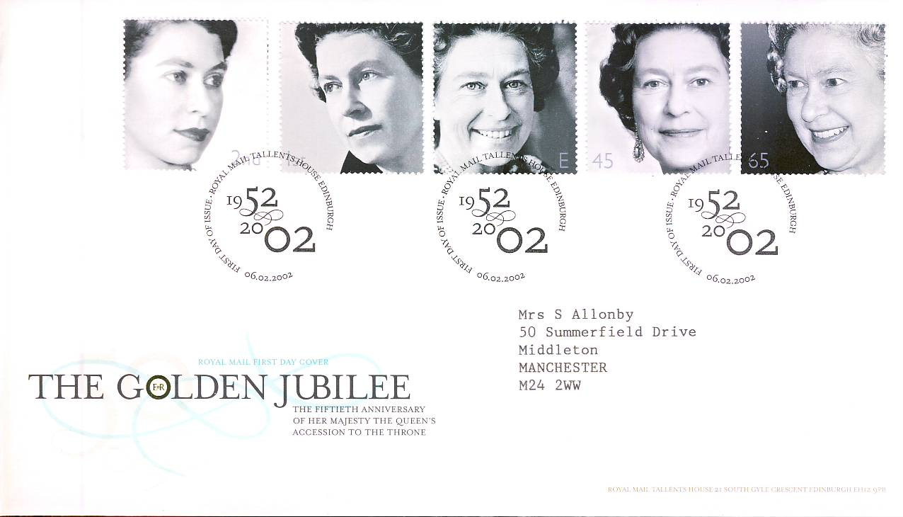 2002-02-06 Queens Golden Jubilee Royal Mail First Day Cover Tallents House fdi with insert card refA450