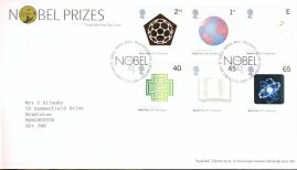 2001-10-02 Nobel Prizes Royal Mail First Day Cover Tallents House fdi with insert card. refA451