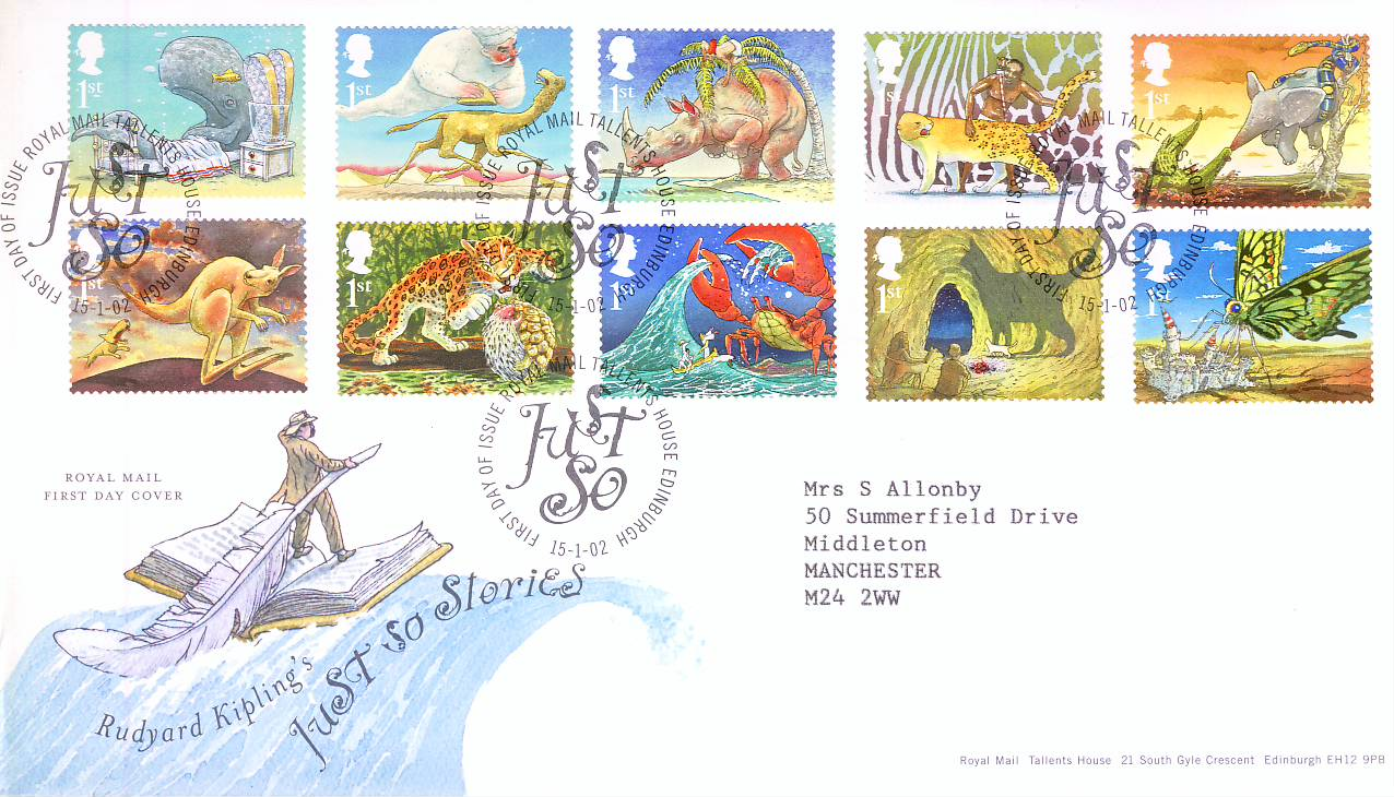 2002-01-15 Just So Stories Royal Mail First Day Cover Tallents House fdi with insert card refA452