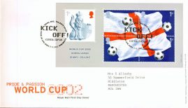 2002-05-21 World Cup minisheet Royal Mail First Day Cover Tallents House fdi with insert card.  Kick Off Korea Japan. refA454
