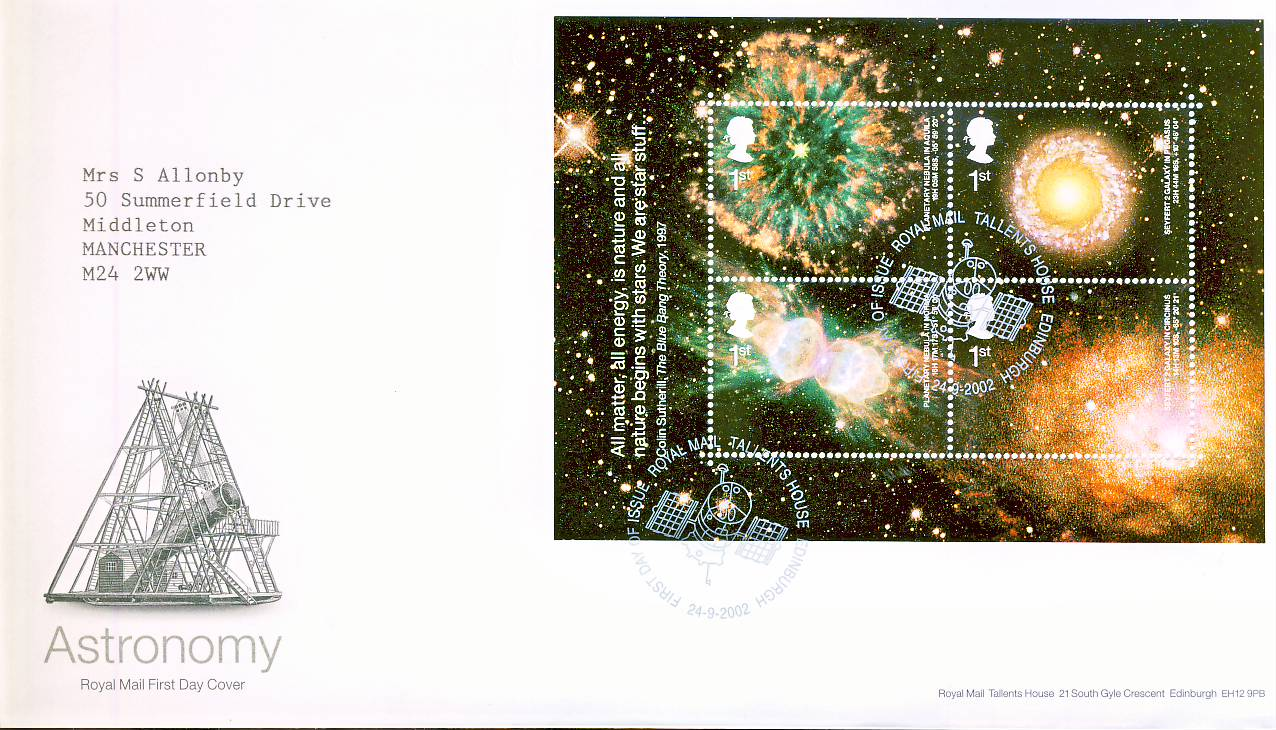 2002-09-24 Astronomy minisheet Royal Mail First Day Cover Tallents House fdi with insert card. refA455