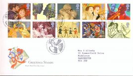 1995-03-21 Greetings Stamps Art Royal Mail First Day Cover Bureau fdi with insert card. refA456