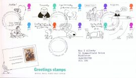 1996-02-26 Greetings Stamps Cartoons Royal Mail First Day Cover Bureau fdi with insert card. refA457