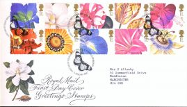 1997-01-06 Greetings Stamps Flowers Royal Mail First Day Cover Bureau fdi with insert card.  refA458