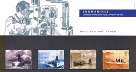 SUBMARINES Centenary of the Royal Navy Submarine Service 2001 Presentation Pack Set of Royal Mail Mint Stamps issued 10th April 2001  refA462