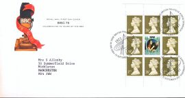 1997 BBC 75 Years Royal Mail FDC Stamp Booklet Pane with Bureau fdi cancel 23 September 1997 and insert card refA474