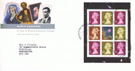 1999 World Changers British Scientific Genius Royal Mail Booklet Stamp Pane FDC with Bureau fdi 21.9.99 and insert card A479