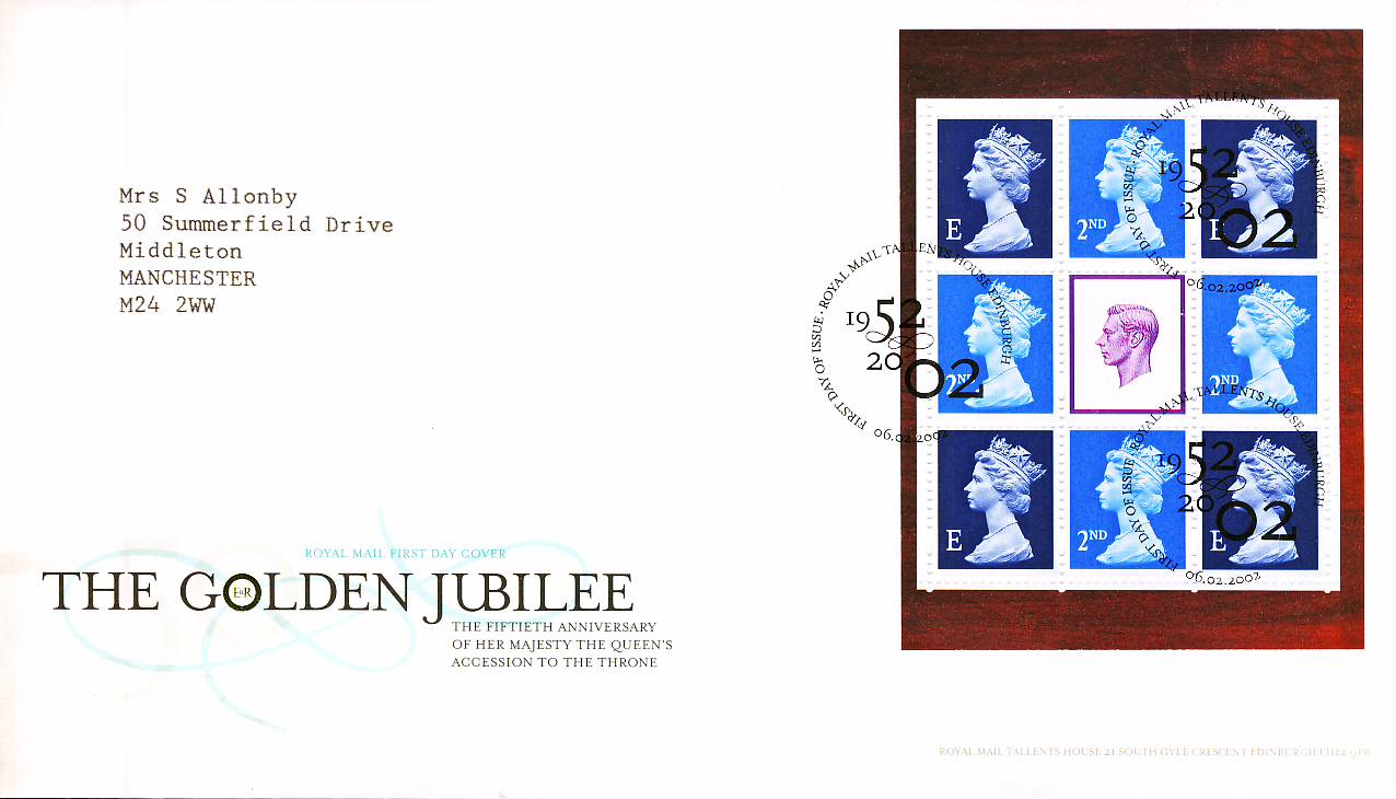 2002 Golden Jubilee Royal Mail stamp pane FDC Tallents House Edinburgh fdi 06.02.2003 refA484