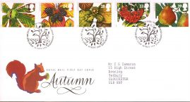Autumn The Four Seasons Royal Mail First Day Cover with Bureau fdi 14 September 1993 and insert card.  refA495