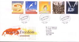 Peace and Freedom Royal Mail First Day Cover Bureau fdi 2 May 1995 with insert card. refA508