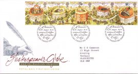Shakespeares Globe Theatre Royal Mail First Day Cover Bureau fdi 8 Auguat 1995 with insert card. refA510
