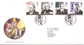 Communications Pioneers Royal Mail First Day Cover Bureau fdi 5 Sept 1995 with insert card. refA511