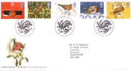 Christmas Robins Royal Mail First Day Cover Bureau fdi 30 Oct 1995 with insert card. refA513