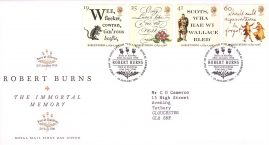Robert Burns First Day Cover Bureau Edinburgh fdi 25 January 1996 with insert card refA514