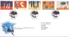 Christmas Royal Mail First Day Cover Bureau fdi 28 Oct 1996 with insert card. refA523