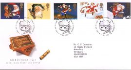 Christmas Crackers Royal Mail First Day Cover Bureau with fdi 27 Oct 1997 and insert card. ref529