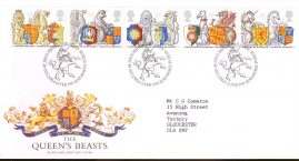Queens Beasts Royal Mail First Day Cover Bureau fdi 24 Feb 1998 with insert card. refA531