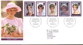 Diana Princess of Wales First Day Cover Bureau fdi 3 Feburary 1998 with insert card.  refA532
