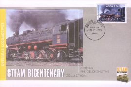 2004 Antigua & Barbuda fdi German Kreigslokomotive Overseas Locomotives Steam Bicentenary stamp commemorative cover. Very Good condition with insert card. Please see larger photo for details.