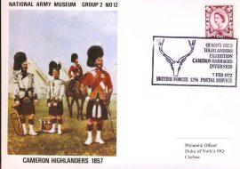 1972 National Army Museaum Cover Group 2 No.12 BFPO Cameron Barracks  refB3