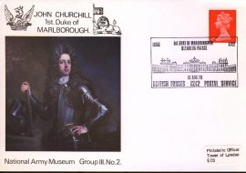 1970 John Churchill 1st Duke of Marlborough BFPO Blenheim Palace special handstamp on National Army Museum Cover. Addressed to the Tower of London EC3 refB42