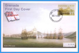 2001 Action off St Lucia Grenada stamped FDI numbered Mercury First Day Cover refB14 Unsealed. No insert card.