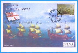 2001 Jacobean Navy Grenada stamped FDI numbered Mercury First Day Cover refB15 Unsealed. No insert card.