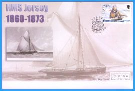 2001 HMS Jersey stamped FDI numbered Mercury First Day Cover refB18 Unsealed. No insert card.